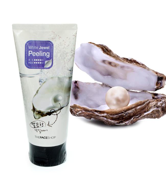 [The Face Shop]  Kem massage tẩy da chết ngọc trai White Jewel Peeling  120ml