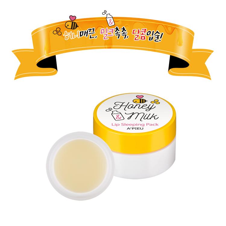 [APieu] Mặt Nạ Ngủ Dưỡng Môi Honey & Milk Lip Sleeping Pack