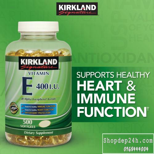 [Kirkland] Vitamin E Thiên Nhiên 400 I.U Kirkland Signature 500 Viên Của Mỹ