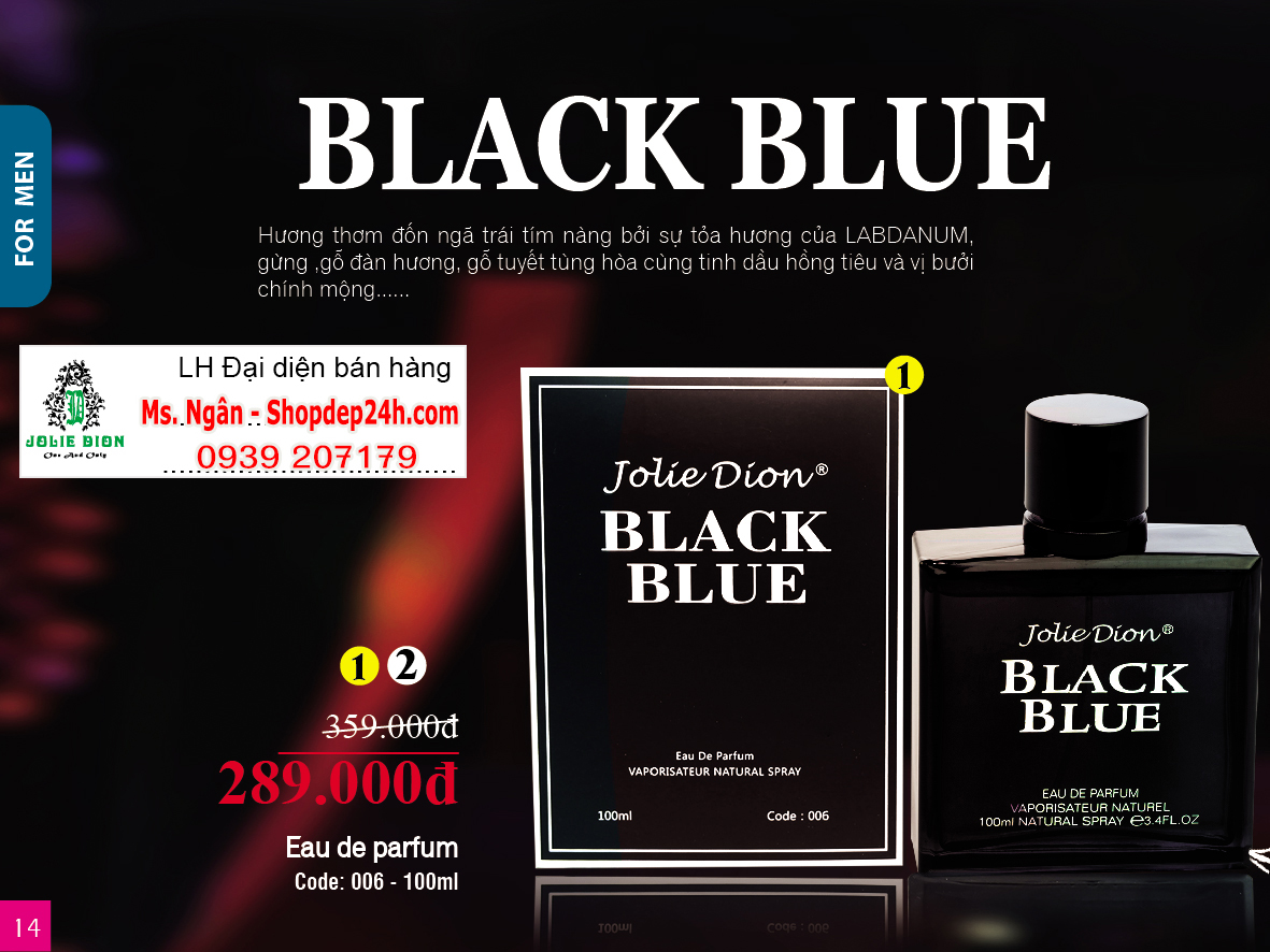 [Jolie Dion] Nước hoa nam Black Blue EDP 100ml
