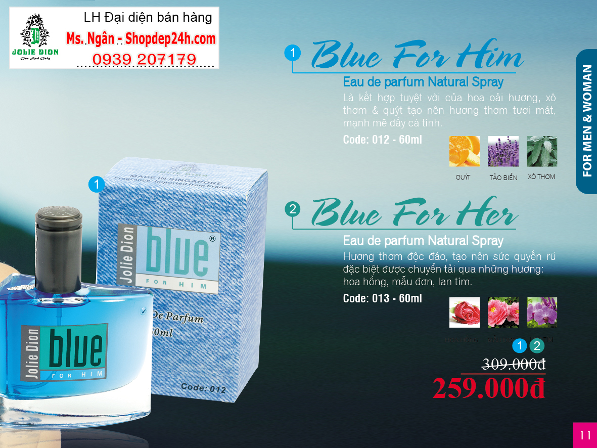 [Jolie Dion] Nước hoa nam Blue for him EDP 60ml