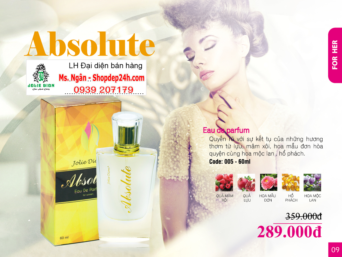 [Jolie Dion] Nước hoa nữ Absolute for women EDP 60ml