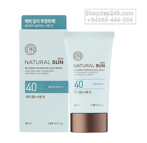 [The Face Shop]  Kem chống nắng The Face Shop  Natural Sun Eco No Shine Hydrating Sun Cream SPF40 PA+++