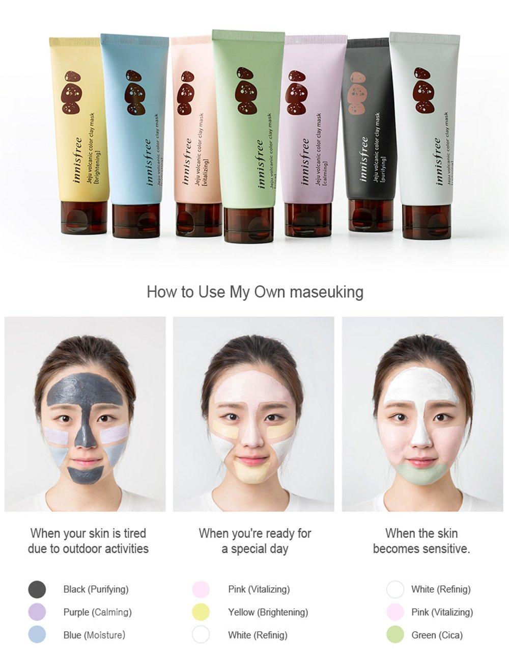 [Innisfree] Mặt nạ đất sét mới Jeju Volcanic Color Clay Mask 70ml