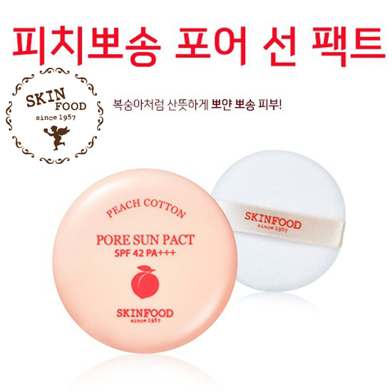 [Skinfood] Phấn nén kiềm dầu Skinfood Peach Cotton Pore Sun Pact SPF42 PA+++