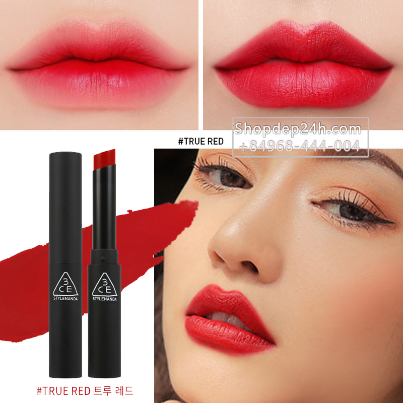 [3CE] Son thỏi 3ce Slim Velvet Lip color #True Red