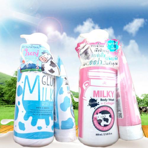 Sữa tắm trắng da hằng ngày con bò Thái Lan 800ml  tặng sửa rửa mặt