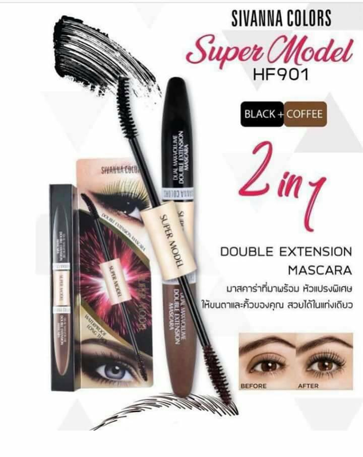 [Sivanna] Mascara Sivanna Colors Super Model 2in1 Double Extension