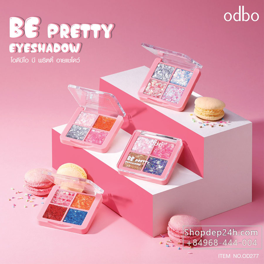 [Odbo] Phấn nhũ mắt kim tuyến 4 ô Odbo Be Pretty Eye Shadow Thái Lan